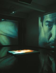 Video installation projected on three walls and salt bed by Nalini Malani, 2000