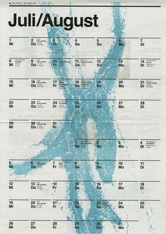 Fabrikzeitung (Rote Fabrik), Calendar July/August 2015, illustration by Moreno Tuttobene
