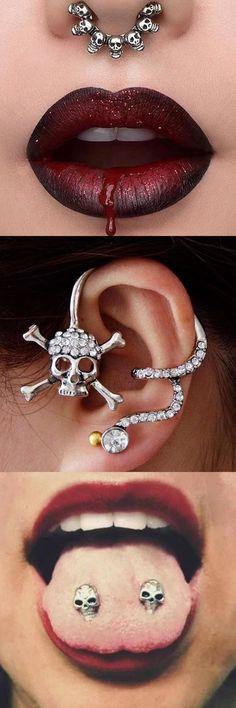 Cool Ear Piercing Ideas - Skull Septum Piercing Jewelry - Tongue Piercings - Halloween 2017 Costume Makeup Jewelry - Red Lips Dramatic Glitter Makeup - MyBodiArt.com