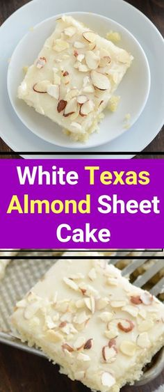 White Texas Almond Sheet Cake When it comes to dessert, its hard to top a rich, decadent cake thats full of flavor and has everyone begging for seconds. This white Texas sheet cake is just the Almond Sheet Cake Recipe, Sheet Cake Recipes, Easy Cake Recipes, Large Sheet Cake Recipe, Almond Cake Recipes, Summer Cake Recipes, Yummy Recipes, Vegan Recipes, Desserts