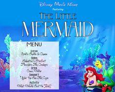 Freebie - Movie Night Menu featuring The Little Mermaid - Digi-Mama's - Free Printables Disney Family Movies, Disney Films, Little Mermaid Movies, The Little Mermaid, Movie Themes, Movie Ideas, Party Themes, Party Ideas, Disney Themed Food
