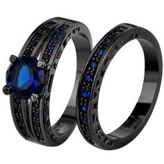 Sapphire & Black Gold Rings