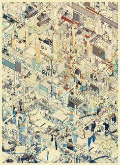 這是來自奧地利維也納的雙人設計工作室 Atelier Olschinsky 的作品,這系列名為〝城市〞的插畫作品,強烈的色彩融合了銳利...