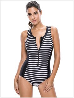5e82931099 Diramon Summer Size Swimsuit Stripe Sleeveless Zipper Slim Linked Swimsuit  41960