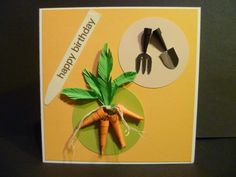 Gardening themed card with quilled carrots and garden tools
