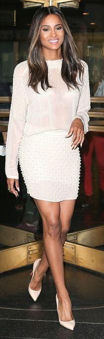 Ciara: Shirt and skirt – Zara  Shoes – Christian Louboutin