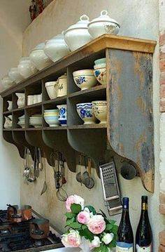 open kitchen shelves - gray painted vintage divided upper wall shelf with an open ogee bracket bottom offering space for hanging utensils - welke.nl via atticmag