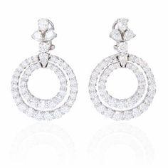 13.33ct Diamond 18k White Gold Dangle Earrings