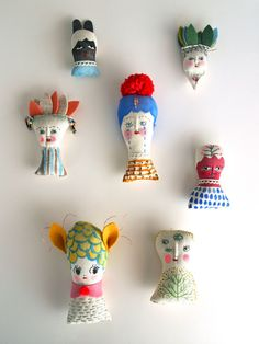 Jess Quinn. Painted and embroidered dolls.