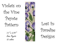 Peyote Bracelet Pattern - Violets on the Vine - Peyote Stitch Pattern (Buy 2 get one Free). $6.50, via Etsy.
