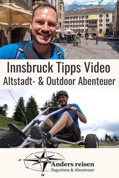 """(Anzeige) In diesem YouTube Reisevideo mit Innsbruck Tipps zeige ich Dir spannende Orte in der innsbrucker Altstadt und auch Outdoor Abenteuer. Das Video führt mit den Nordkettenbahnen zur Hungerburg, Seegrube und zum Hafelekar. Außerdem werfen wir einen Blick in die Hofkirche und zum """"Goldenen Dachl"""". Mit dem Mountain Cart geht es von der Muttereralm rasant bergab. Alle Aktivitäten kannst Du mit öffentlichen Verkehrsmitteln, also ohne Auto erleben. #myinnsbruck #innsbruck #UrlaubOhneAuto #tirol Innsbruck, Fictional Characters, City Breaks Europe, Outdoor Adventures, Adventure Travel, Fantasy Characters"""