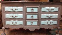 9-Drawer French Provincial Dresser by TraceysFancy on EtsyLittle boys rooms can be hard to decorate. Not the case for Tracey. A little imagination and the right color palate lends this 9-drawer French Provincial dresser a whole new life. The colors, along with the distressing, says rugged and durable all the way! Let Tracey help you create a boys room that will outlast his little boy years.