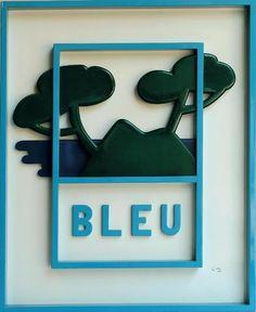 En vente samedi 15 août 2016 par Besch Cannes Auction  à Cannes, Claude GILLI 1938-2015 Bleu, 2004 Bois peint en bleu et vert signé en bas à droite, titré et numéroté E.A I/IV au dos 83 x 67,5 cm. Estimation: 2 000 - 2 500 euros
