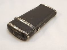 antique black leather covered silver drawing etui