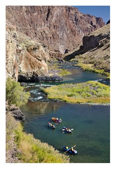 """Rafting in the Lower Owyhee ~ """"Nestled in a high-desert red-rock canyon just over the border in Oregon, its blue-green waters meander slowly along willow-lined banks."""" ... gr8 fishing, too !"""