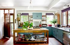 blue painted kitchen vintage style house tour                                                                                                                                                                                 More