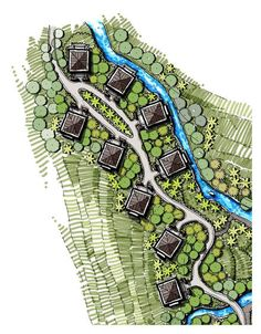 The landscape design was challenging due to the site being located in a steep hill. The design conformed with the slope utilizing the level difference to. Urban Design Concept, Urban Design Diagram, Urban Design Plan, Landscape Architecture Drawing, Landscape Design Plans, Concept Architecture, Plan Hotel, Parque Linear, Forest Resort