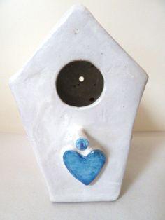 Bird house with blue heart. Casetta per uccellini con di LabLiu, €30.00