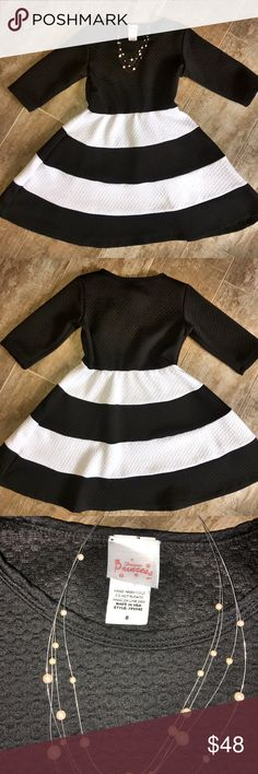 Forever Princess Black & White 3/4 Slv Dress Sz 8 Forever Princess Black & White 3/4 Slv Dress Sz 8 - Worn Once - Like New - 95% Poly 5% Spandex - Hand Wash Cold - Hang Dry Forever Princess Dresses Formal