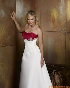 White and Red Elegant Formal Strapless Appliqué Satin Plus Size  Wedding Gowns Under 200
