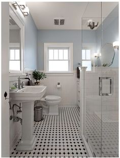 Gorgeous restroom remodel as well as total makeover to this desire bath! Washroom Remodelling Ideas: washroom remodel cost, shower room concepts for small shower rooms, small bathroom design suggestions. Black White Bathrooms, Home, Bathroom Styling, Victorian Bathroom, White Bathroom, Bathroom Flooring, Bathrooms Remodel, Bathroom Design, Craftsman Bathroom