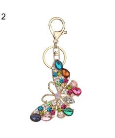 Glossy Colorful Rhinestone Butterfly Decor Keychain Key Ring Bag Pendant  Gift - 2 - CN18G70L864 99eb79ff5e