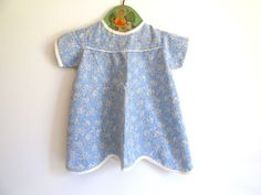 Antique Handmade Baby Dress  Blue Flour by RollingHillsVintage