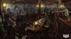 Local Tavern by Wulfenia Mak. ArtStation   Let's drink!