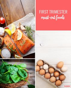 While many women lose their appetites and suffer from nausea in the early months of pregnancy, there are certain foods every pregnant lady should be certain to eat during the first trimester. Proper nutrition is key to making sure both you and your baby get all the vital goodness you need. We've rounded up some of the most important foods you should be eating during your first trimester. Always remember to talk to your doctor first. From salmon to eggs, click to browse the full recipe list.