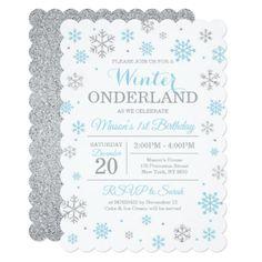 Blue Silver Winter Wonderland Birthday Invitation - birthday gifts party celebration custom gift ideas diy