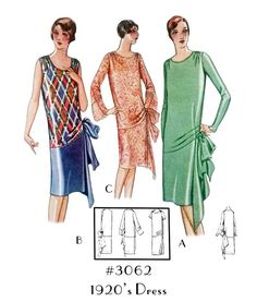 Sew these vintage sewing patterns and recreate 100 years of fashion. Remember fashion history with these real vintage sewing patterns! Moda Art Deco, 1920s Outfits, 1920s Dress, Period Outfit, 1940s Fashion, High Fashion, Dress Patterns, Paper Patterns, Pattern Paper