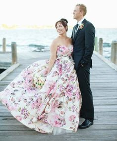 14 Floral Wedding Dresses That Are Crazy Pretty via Brit + Co.