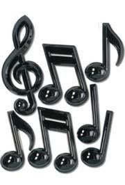 7 Piece 7in-13in-22in Black Plastic Musical Notes, Jazz Decorations, Musical Instruments Decorations, black decorations