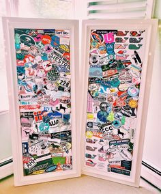Cool way to display collected stickers, stubs, stamps, & patches! Vsco, Mirror Stickers, Mac Stickers, Laptop Stickers, Preppy Stickers, Room Goals, Displaying Collections, My New Room, Dream Bedroom
