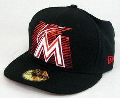 reputable site 73008 0ebe4 New Era Florida Marlins Hat Cap Fitted MLB Baseball Wool Black Size 7.5   NewEra