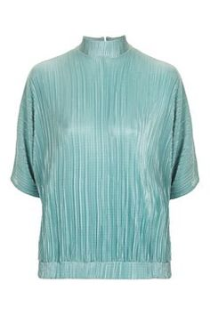 Plisse top with splitback and batwing sleeve Polyester. Batwing Top, Batwing Sleeve, Topshop Tops, Bat Sleeve, Green Tops, Fashion Books, Asos, My Style, Sweaters