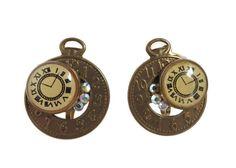 Vintage Clock Earrings, Copper Toned Pocket Watch Novelty Clip-on Earrings, Birthday Gift, Christmas Gift