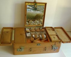 Vintage Cross Leather Train Case Suitcase Carryon by CalloohCallay, $135.00 Wow, very cool.