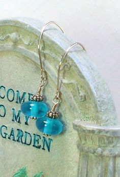 Turquoise Blue Glass Earrings Sterling Silver Hand Crafted Ear Wires $14.00 by Connieosity to order click on pic.  https://www.etsy.com/shop/Connieosity?ref=si_shop