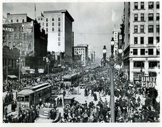 People crowd the streets of Salt Lake City to celebrate the end of WWI on Nov. 11, 1918.