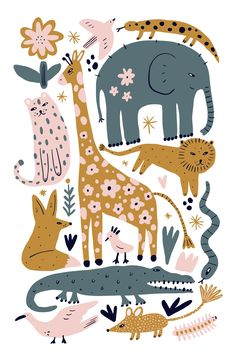 About ★ This is safari wildlife set, different animals bundle, African cute inhabitants collection, nursery illustrations. Good for branding, room interior Pattern Floral, Pattern Art, Surface Pattern Design, Safari Animals, Baby Animals, Pink Animals, Forest Animals, Pattern Illustration, Cute Animal Illustration