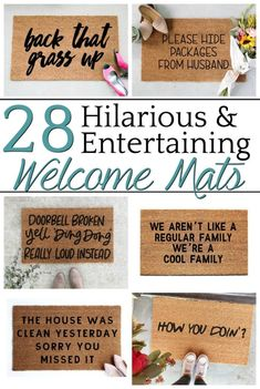 A home decor shopping guide with 28 of the most hilarious, entertaining, and che. A home decor shopping guide with 28 of the most hilarious, entertaining, and cheeky welcome mats to add personality to your porch or entryway. Decorating On A Budget, Porch Decorating, Cheap Home Decor, Diy Home Decor, Front Door Mats, Diy Door Mats, Cute Door Mats, Diy Vanity, Layout