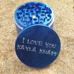 Blue Multi-Tooth Custom Herb Grinders. Laser engraved with a custom message. This smoking accessory is one of the most badass top shelf grinders in the cannabis industry today to make your own grinder
