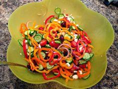'Mini' Greek Salad with mini peppers, mini cucumbers, and mini tomatoes. Mini Cucumbers, Baby Tomatoes, Stuffed Mini Peppers, Greek Salad Recipes, Mini S, Ratatouille, I Foods, Vegetable Pizza, Salads