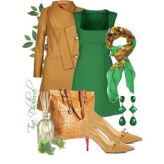 "The lines of the dress are CLASSIC BEAUTY!  ""green with envy"" by tinadhaliwal on Polyvore dressy look"