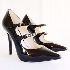 """KORS Michael Kors Abalena Double Strap Pump Beautifully crafted MK pumps in classic black patent leather with double straps and 4.5"""" covered heel. These sold out super fast and are popular on red carpets. I bought them to replace another similar pair but I'm just not used to this high of a heel so I haven't worn them. New with a couple small marks on the bottom of one shoe. As worn by Victoria's Secret Angel Erin Heatherton (shown) and Alexandra Richardson. KORS Michael Kors Shoes"""