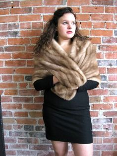 Vintage Honey Brown Real Mink Fur Stole Shawl Wrap Evening Coat 50's Jacket