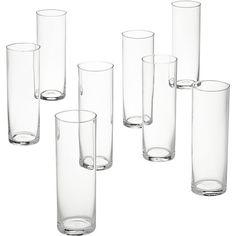 set of 8 cylinder champagne flutes    CB2