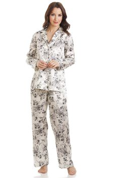 7471f2c887 Floral Print Cream Satin Full Length Pyjama Set Satin Pyjama Set