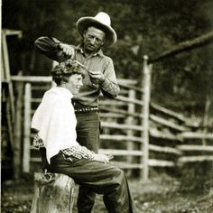 """thirtymilesout: """" Carl M. Dunrud giving Amelia Earhart a haircut Double D Ranch, 1934 Kirwin, Wyoming """""""